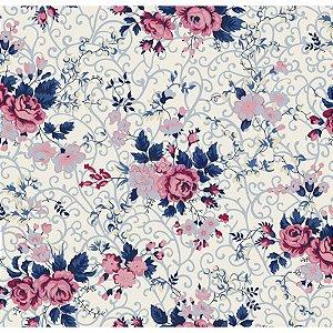 Tricoline Estampado Floral Fernanda - Cor-04 (Marinho com Rosa), 100% Algodão, Unid. 50cm x 1,50mt