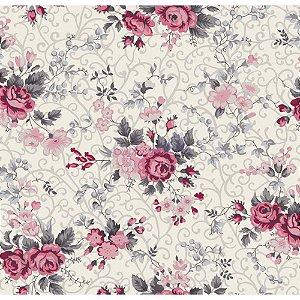 Tricoline Estampado Floral Fernanda - Cor-03 (Cinza com Rosa), 100% Algodão, Unid. 50cm x 1,50mt
