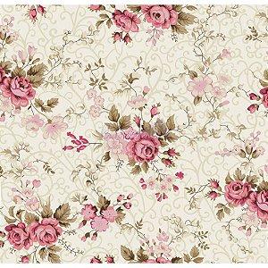 Tricoline Estampado Floral Fernanda - Cor-02 (Creme com Rosa), 100% Algodão, Unid. 50cm x 1,50mt