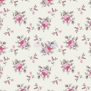 Tricoline Estampado Floral Angel - Cor-04 (Cinza com Rosa), 100% Algodão, Unid. 50cm x 1,50mt
