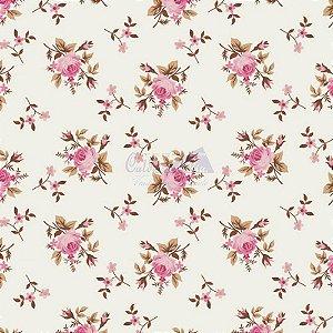 Tricoline Estampado Floral Angel - Cor-03 (Rosé), 100% Algodão, Unid. 50cm x 1,50mt