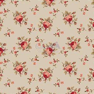 Tricoline Estampado Floral Angel - Cor-02 (Bege), 100% Algodão, Unid. 50cm x 1,50mt