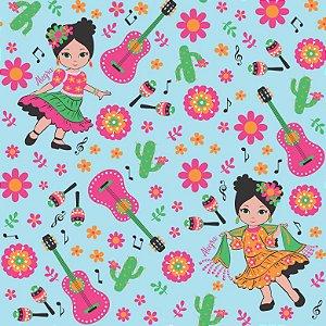 Tecido Tricoline Menina Dançando, 100% Algodão, 50cm x 1,50m