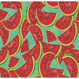 Tricoline Estampado Melancia Fatias Cor-03 (Verde Tiffany), 100% Algodão, Unid. 50cm x 1,50mt