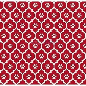 Tricoline Estampado Patinhas - Cor-05 (Vermelho), 100% Algodão, Unid. 50cm x 1,50mt