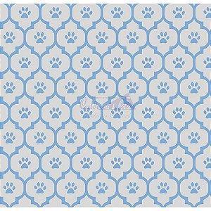 Tricoline Estampado Patinhas - Cor-01 (Cinza com Azul), 100% Algodão, Unid. 50cm x 1,50mt