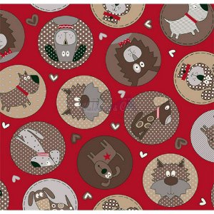 Tricoline Estampado Cute Dog - Cor-05 (Vermelho), 100% Algodão, Unid. 50cm x 1,50mt