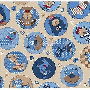 Tricoline Estampado Cute Dog - Cor-02 (Bege), 100% Algodão, Unid. 50cm x 1,50mt