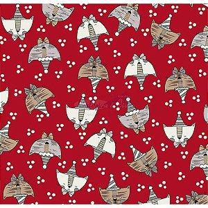 Tricoline Estampado Cat - Cor-05 (Vermelho), 100% Algodão, Unid. 50cm x 1,50mt