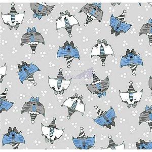 Tricoline Estampado Cat - Cor-01 (Cinza com Azul), 100% Algodão, Unid. 50cm x 1,50mt