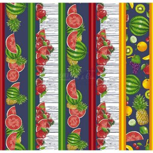 Tricoline Estampado Barrado Salada de Frutas - Cor-04 (Marinho), 100% Algodão, Unid. 50cm x 1,50mt