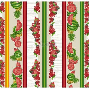 Tricoline Estampado Barrado Salada de Frutas - Cor-02 (Bege), 100% Algodão, Unid. 50cm x 1,50mt