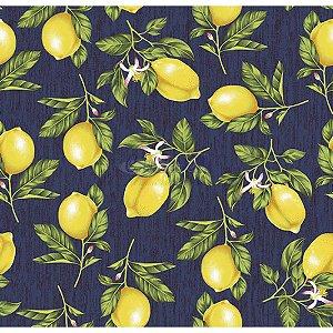 Tricoline Estampado Limão - Cor-04 (Marinho), 100% Algodão, Unid. 50cm x 1,50mt