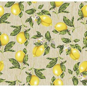 Tricoline Estampado Limão - Cor-02 (Bege), 100% Algodão, Unid. 50cm x 1,50mt