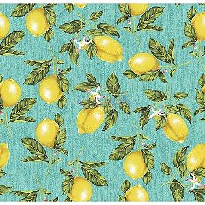 Tricoline Estampado Limão - Cor-01 (Azul), 100% Algodão, Unid. 50cm x 1,50mt