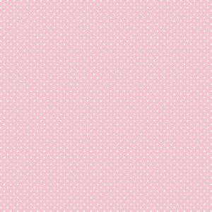 Tricoline Poá Peri Branco Fundo Rosa 100%Alg, 50cm x 1,50m