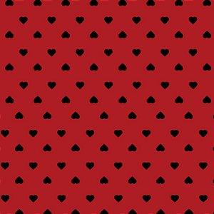 Tricoline Coração Preto F. Vermelho, 100%Alg, 50cm x 1,50mt