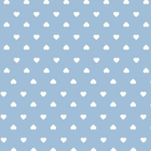 Tricoline Coração Branco F. Azul BB, 100%Alg, 50cm x 1,50mt