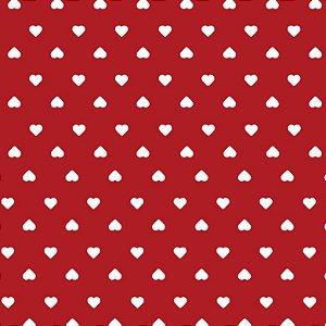Tricoline Coração Branco F. Vermelho, 100%Alg, 50cm x 1,50mt