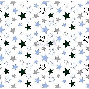 Tricoline Estrelas Star - Cor-01 (Azul com Cinza), 100% Algodão, Unid. 50cm x 1,50mt