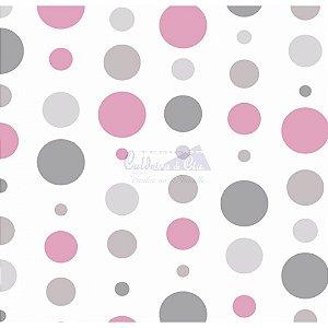Tricoline Estampado Bolas - Cor-02 (Rosé, Bege e Cinza), 100% Algodão, Unid. 50cm x 1,50mt