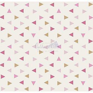 Tricoline Estampado Triângulos Vitória - Cor-06 (Rosa com Bege), 100% Algodão, Unid. 50cm x 1,50mt