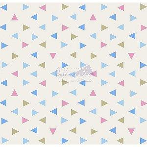 Tricoline Estampado Triângulos Vitória - Cor-03 (Azul, verde e Rosa), 100% Algodão, Unid. 50cm x 1,50mt