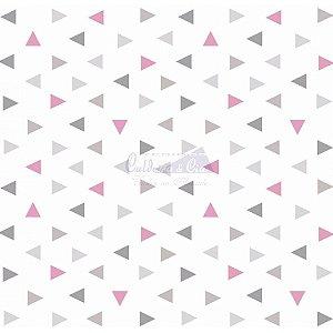 Tricoline Estampado Triângulos Vitória - Cor-02 (Cinza com Rosa), 100% Algodão, Unid. 50cm x 1,50mt