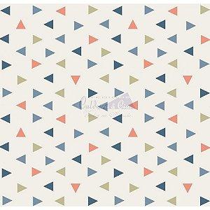 Tricoline Estampado Triângulos Vitória - Cor-01 (Jeans), 100% Algodão, Unid. 50cm x 1,50mt