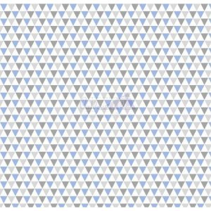 Tricoline Estampado Triângulos Yole - Cor-12 (Azul com Cinza), 100% Algodão, Unid. 50cm x 1,50mt