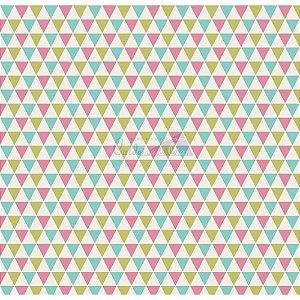 Tricoline Estampado Triângulos Yole - Cor-05 (Tiffany, verde e Rosa), 100% Algodão, Unid. 50cm x 1,50mt