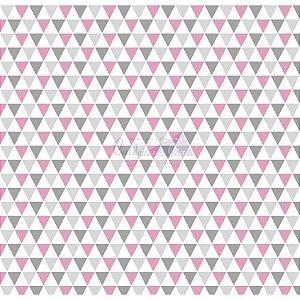 Tricoline Estampado Triângulos Yole - Cor-04 (Cinza com Rosa), 100% Algodão, Unid. 50cm x 1,50mt