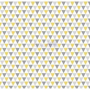 Tricoline Estampado Triângulos Yole - Cor-02 (Amarelo com Cinza), 100% Algodão, Unid. 50cm x 1,50mt