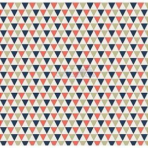 Tricoline Estampado Triângulos Yole - Cor-03 (Marinho com Coral), 100% Algodão, Unid. 50cm x 1,50mt