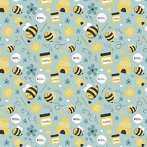 Tecido Tricoline Honey Bee, 100% Algodão, 50cm x 1,50mt