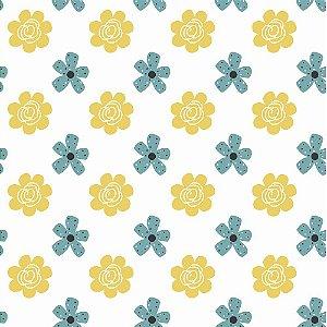 Tecido Tricoline Bee Flower, 100% Algodão, 50cm x 1,50mt
