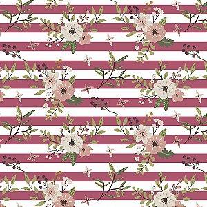 Tricoline Floral Botânica Listrado 100%Algodão, 50cm x 1,50m