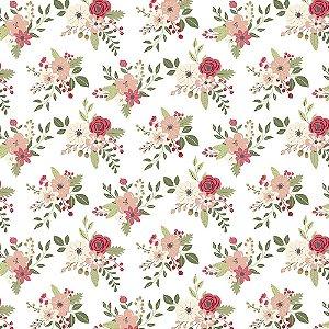 Tecido Tricoline Floral Botânica 100%Algodão, 50cm x 1,50m
