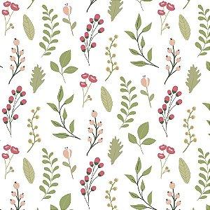 Tecido Tricoline Folhas, 100% Algodão, 50cm x 1,50mt