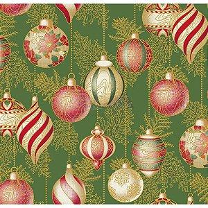 Tricoline Estampado Natal Bolas (Verde), 100% Algodão, Unid. 50cm x 1,50mt