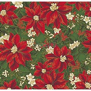 Tricoline Estampado Natal Floral 01 (Verde), 100% Algodão, Unid. 50cm x 1,50mt