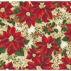 Tricoline Estampado Natal Floral 01 (Bege), 100% Algodão, Unid. 50cm x 1,50mt