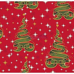 Tricoline Estampado Natal Árvore de Fitas (Vermelho), 100% Algodão, Unid. 50cm x 1,50mt