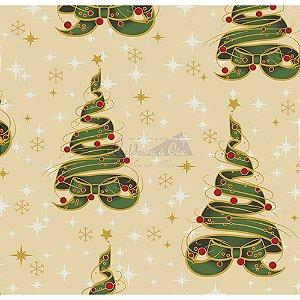 Tricoline Estampado Natal Árvore de Fitas (Bege), 100% Algodão, Unid. 50cm x 1,50mt