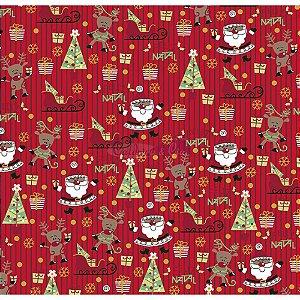 Tricoline Estampado Natal Papai Noel (Vermelho), 100% Algodão, Unid. 50cm x 1,50mt