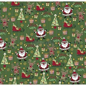 Tricoline Estampado Natal Papai Noel (Verde), 100% Algodão, Unid. 50cm x 1,50mt