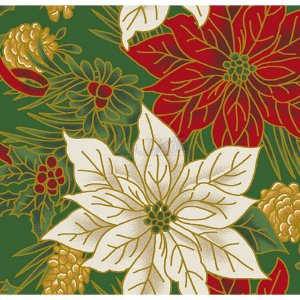 Tricoline Estampado Natal Floral 02 (Verde), 100% Algodão, Unid. 50cm x 1,50mt