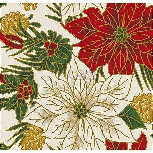 Tricoline Estampado Natal Floral 02 (Bege), 100% Algodão, Unid. 50cm x 1,50mt