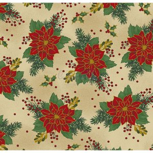 Tricoline Estampado Natal Floral 03 (Bege), 100% Algodão, Unid. 50cm x 1,50mt