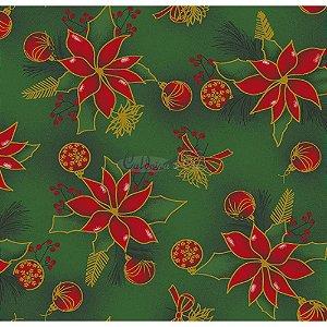 Tricoline Natal Floral com Bolas (Verde), 100% Algodão, Unid. 50cm x 1,50mt